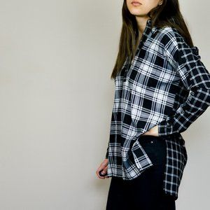 French Connection Black Plaid Popover Top US 4